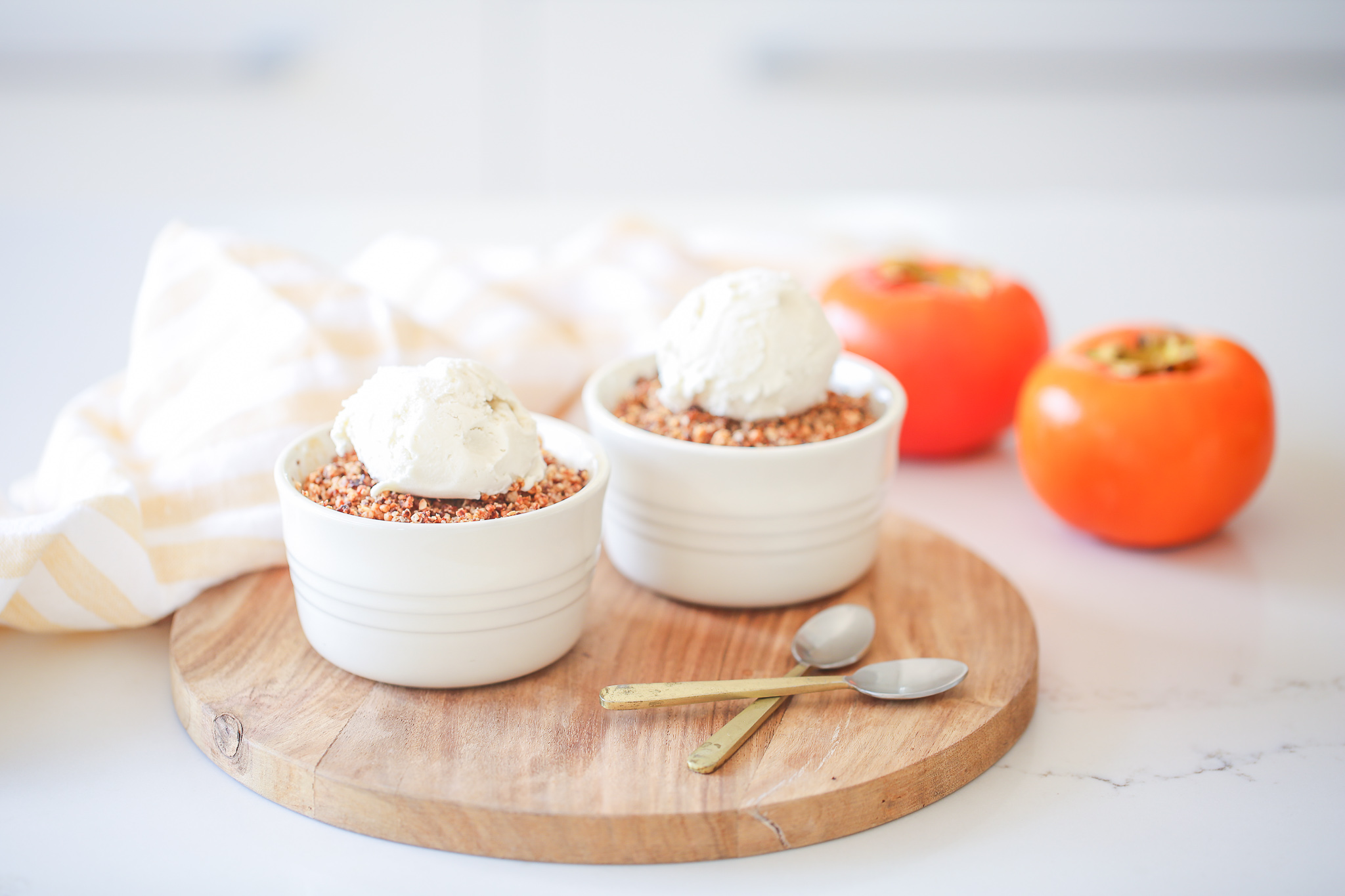 Apple and Persimmon Crumbles - Be Good